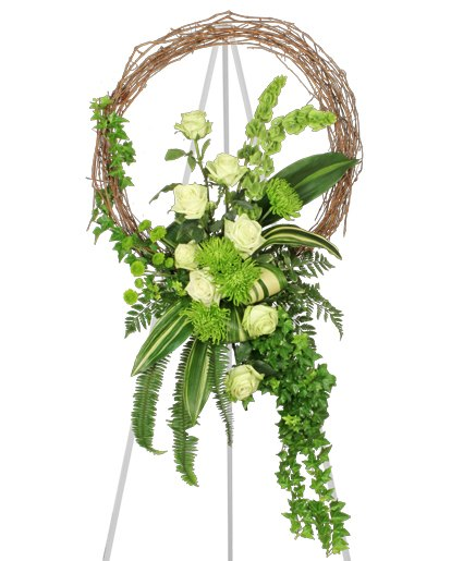 Funeral Flowers - FRESH GREEN INSPIRATIONS FUNERAL WREATH
