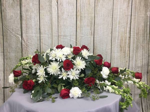 Funeral Flowers - Red & White Casket Spray