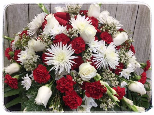 GRACEFUL RED & WHITE CASKET SPRAY by Petals Flower Shop & Florist