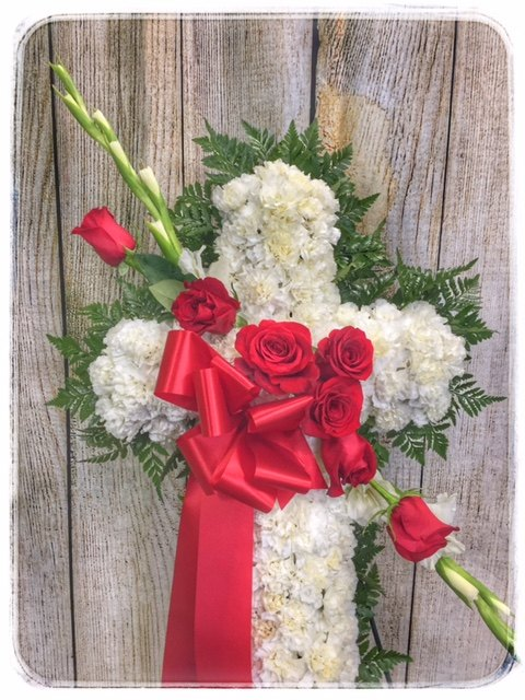 PEACE & PRAYERS SYMPATHY CROSS by Petals Flower Shop & Florist