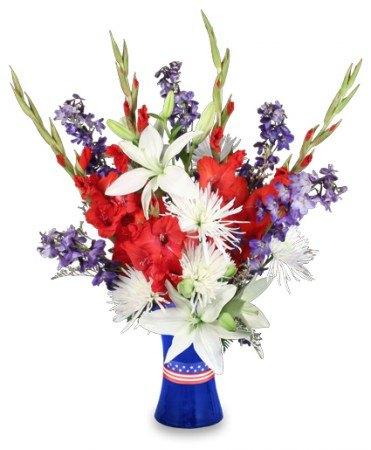 RED WHITE & TRUE BLUE FLORAL ARRANGEMENT