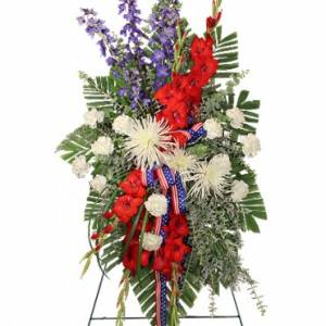 Funeral Flowers - SALUTE TO A SERVICE MEMBER STANDING SPRAY