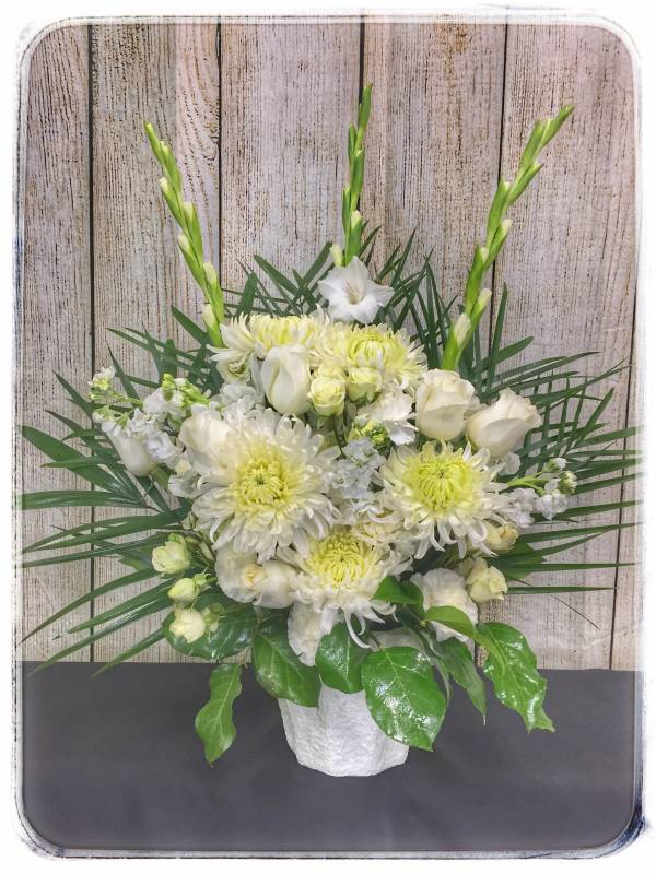 Funeral Flowers by Petals Flower Shop & Florist - HEAVENLY GRACE SYMPATHY ARRANGEMENT