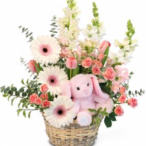 TINY PINK BLESSING BASKET OF FLOWERS