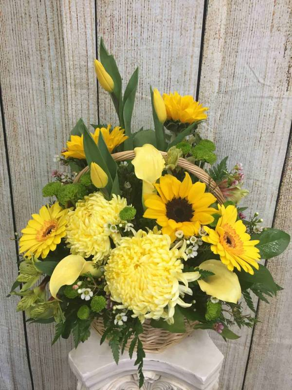 Funeral Flowers - SUNFLOWER SYMPATHY BASKET by Petals Flower Shop & Florist