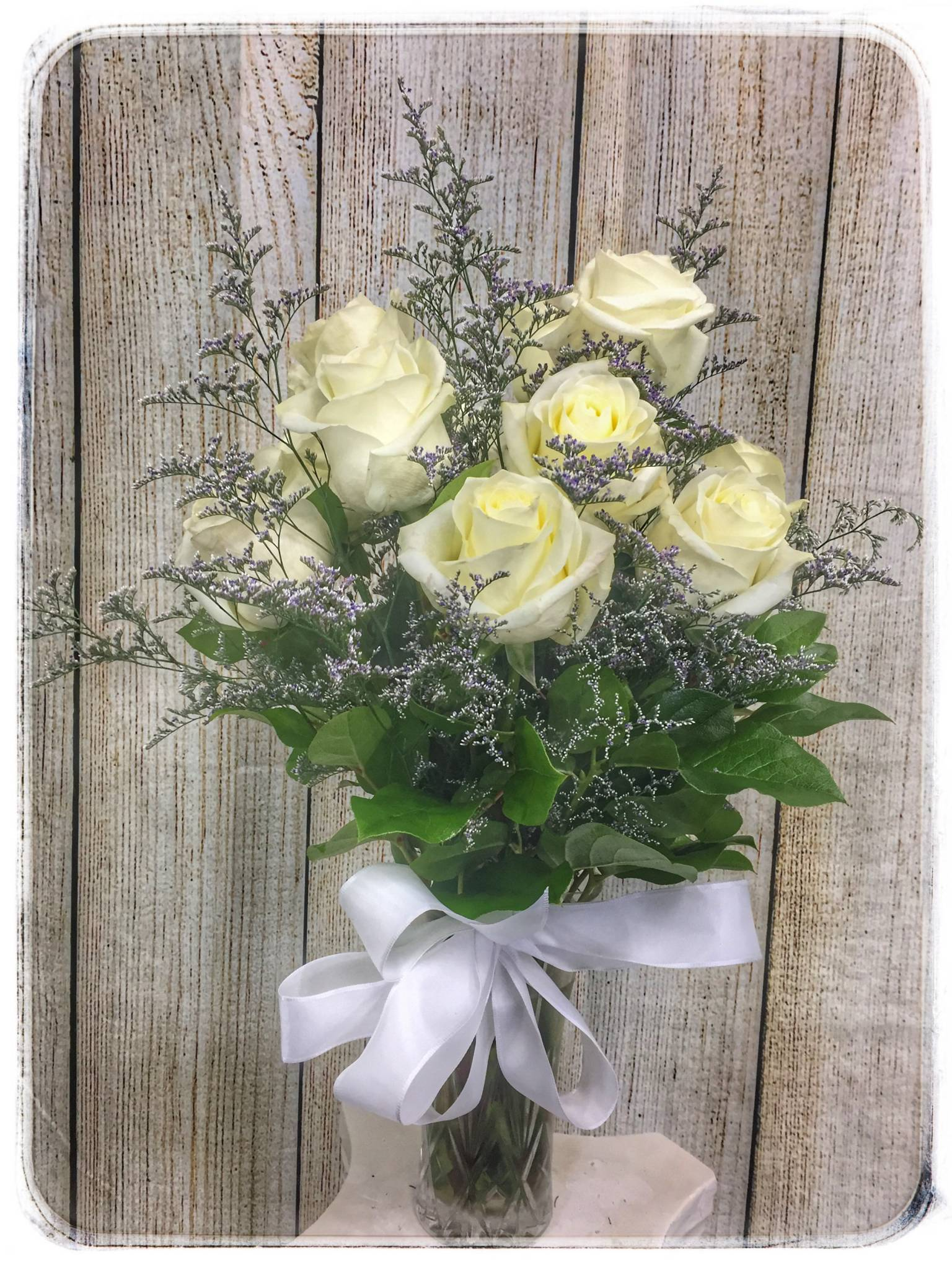 White Rose Flower Arrangement By Petals Florist