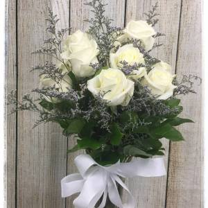 White Rose Flower Arrangement by Petals Flower Shop & Florist