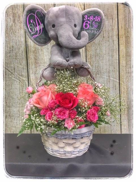 Baby Girl Bundle Personalized Flower Arrangement