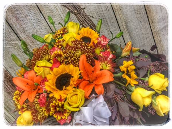 Harvest Flower Basket Flower Arrangement