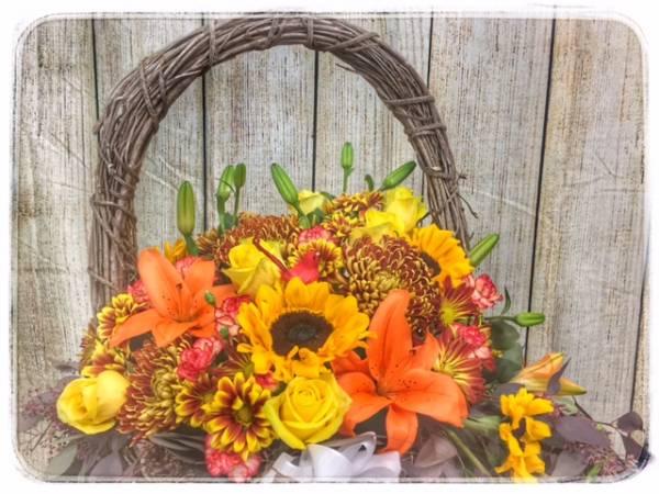 Harvest Flower Basket Flower Arrangement A