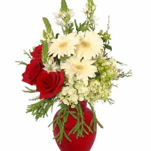 Crimson & Cream Christmas Flower Arrangement From Petals Florist & Flower Shop