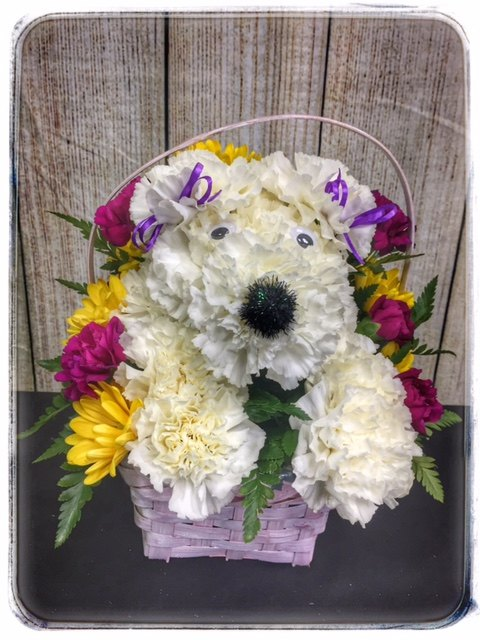 Puppy Dog Flower Basket from Petals Boutique Flowers