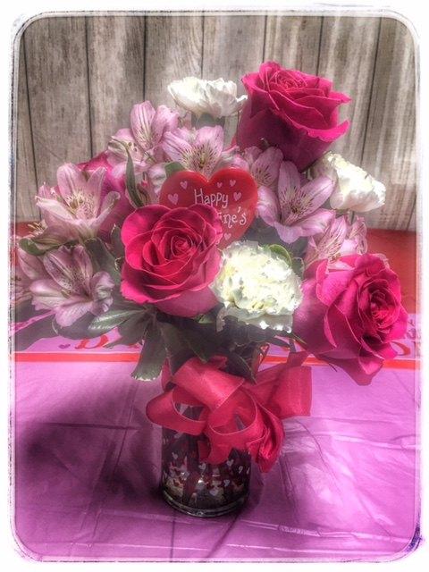 Valentine's Surprise Flower Arrangement From Petals