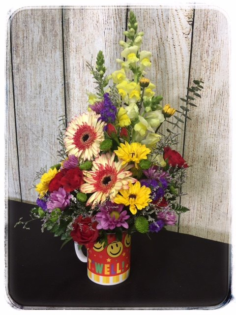Get Well Mug 'O Flowers by Petals Flower Shop in Dyer, Indiana